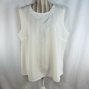Southern Lady Off-White Sleeveless Top Size 14
